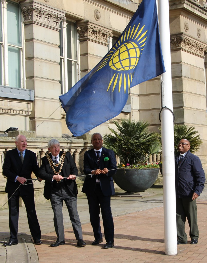 From left to right: Keith Stokes-Smith, Lord Mayor of Birmingham, Wade Lyn, and Paul Ellis, curator of Birmingham City Council