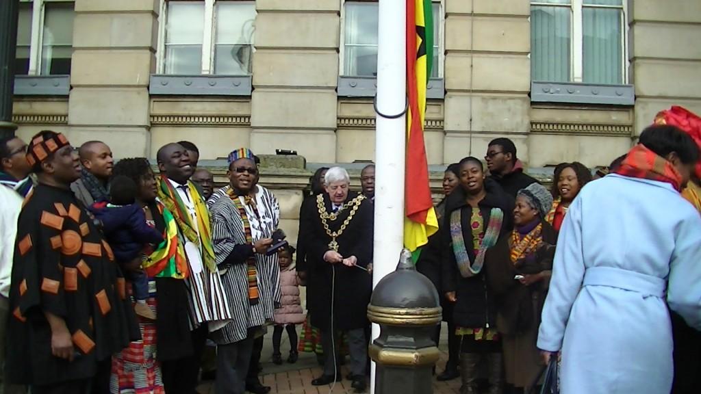 Ghana flag raising