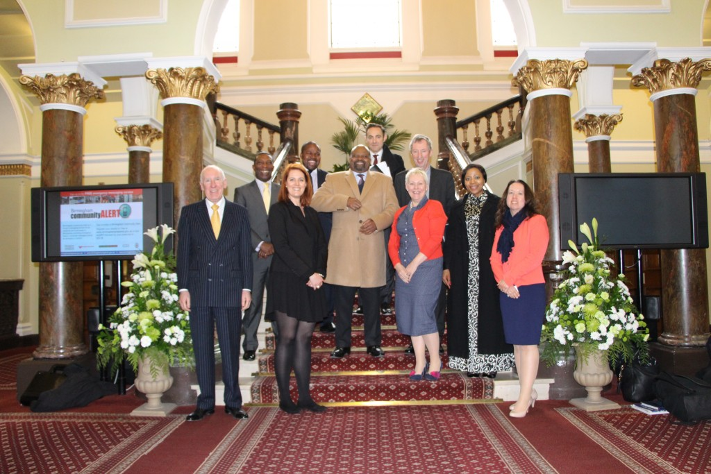 The delegation from the South African High Commission poses in the stairway of the Council House with several members of the Birmingham Commonwealth Association.
