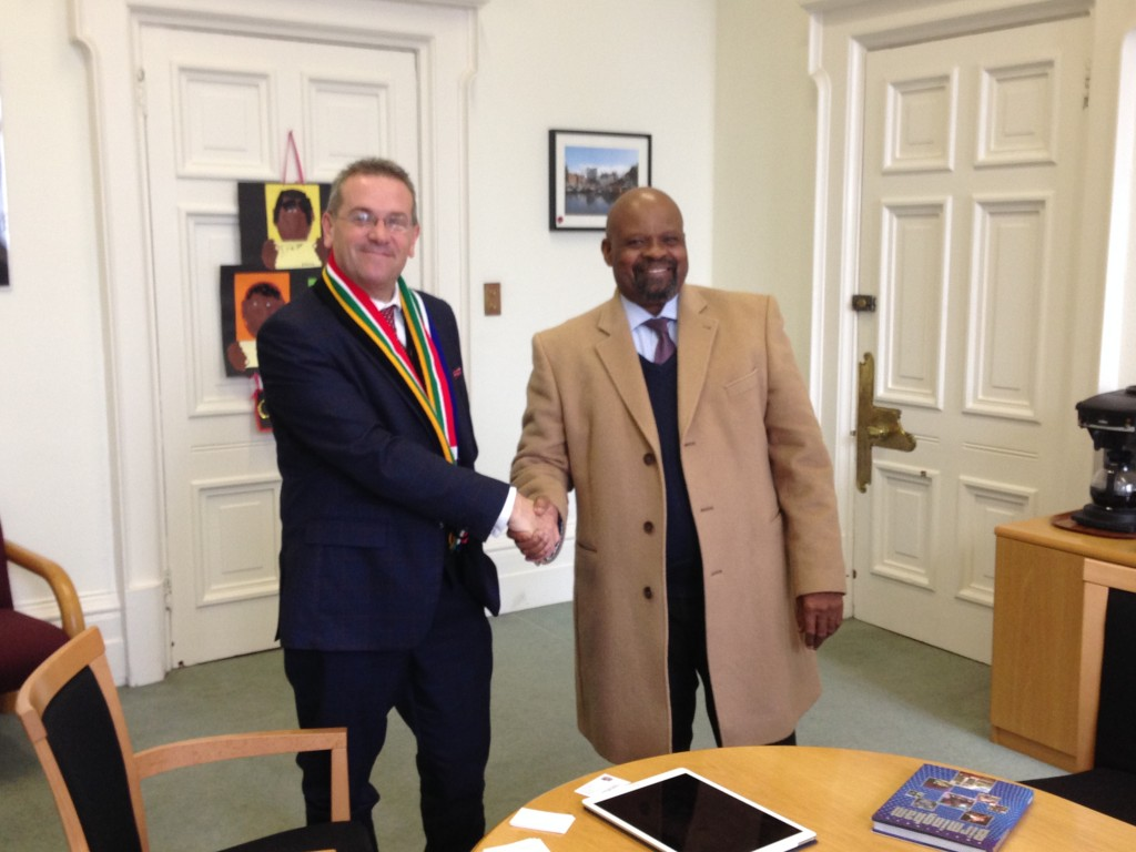 Leader of the Council, Councillor John Clancy meeting the South African High Commissioner Mr. Obeg Mlaba