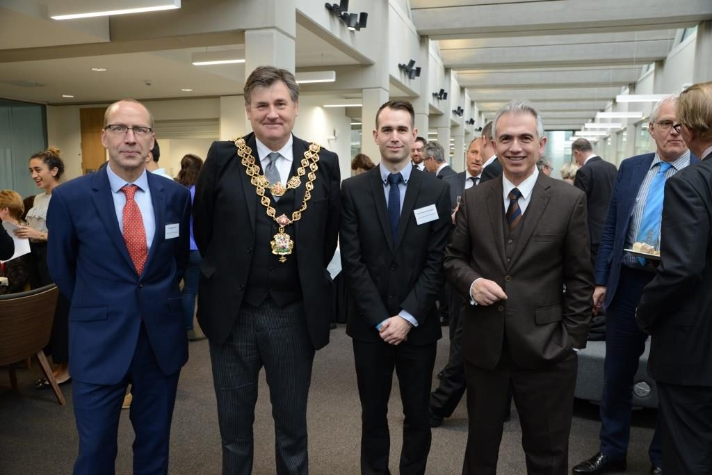 from the left: Dr Jonathan Grix, Lord Mayor Carl Rice, Paul Michael Brannagan and Mayor of Frankfurt Peter Feldmann