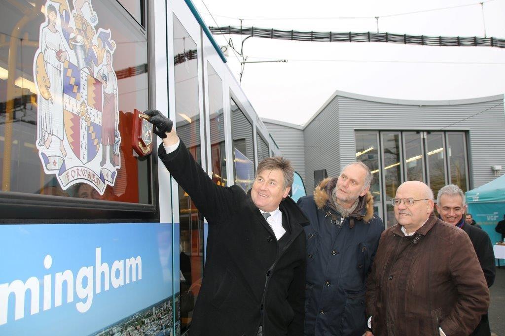 Lord Mayor unveiling Birmingham-Frankfurt tram