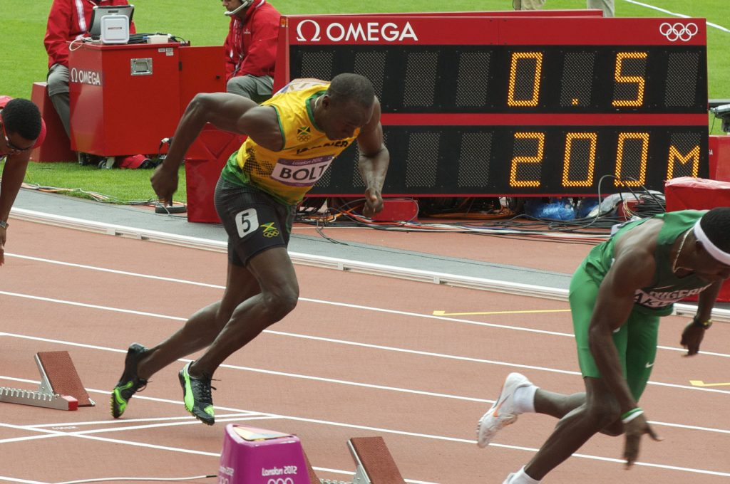 'Usain Bolt after 0.5 seconds'