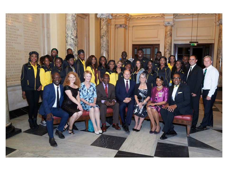 Jamaican Athletics Team with key speakers and other dignitaries by Adrian Burrows